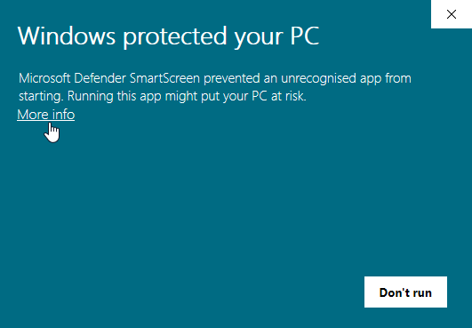 Microsoft Defender SmartScreen unrecognized app